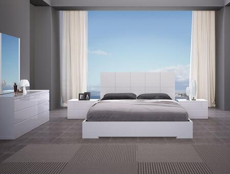 Anna Collection BK1207WHT5SET 5 PC Bedroom Set with King Size Bed  Dresser  Mirror and 2 Nightstands in White