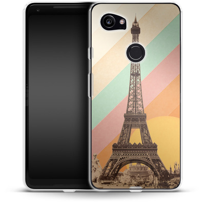 Google Pixel 2 XL Silikon Handyhuelle - Eiffel Tower Rainbow von Florent Bodart