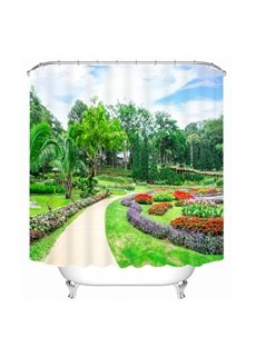 Vibrant Park with Colored Flowers 3D Printed Bathroom Waterproof Shower Curtain