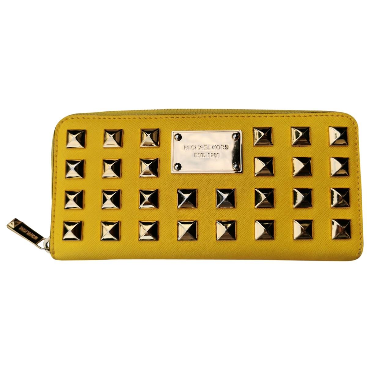 Michael Kors - Portefeuille   pour femme en cuir - jaune
