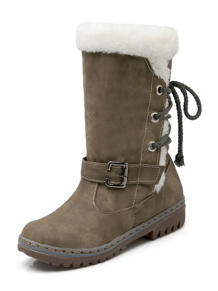 Milanoo Womens Snow Boots Mid Calf Boots Round Toe Buckle Flat Boots
