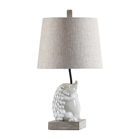 Stylecraft 12 W White & Gray Polyresin Table Lamp, One Size , White