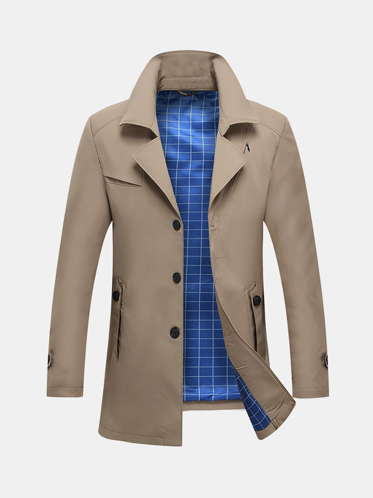 Men's Classic Windproof Suit Collar Tilted Chest Zipper Decoration Casual Business Trench Coat