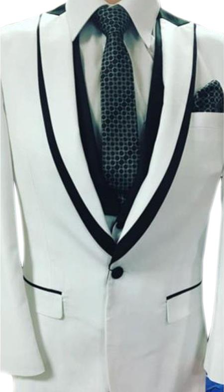 Mens Single Breasted Trimmed Peak Lapel white suit