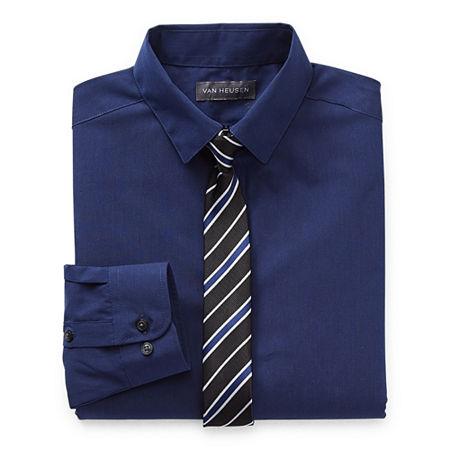Van Heusen Little & Big Boys Button Down Collar Long Sleeve Shirt + Tie Set, X-large (18-20) , Blue