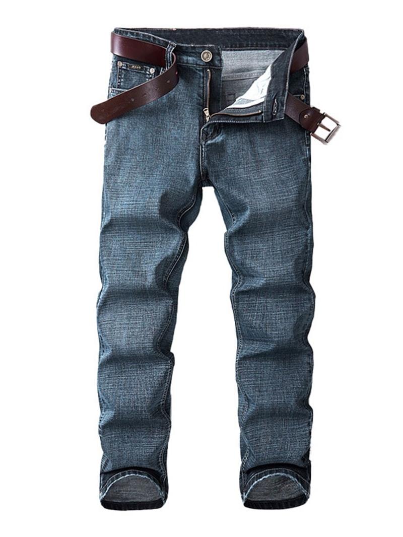 Ericdress Straight Worn Plain Mid Waist Zipper Jeans
