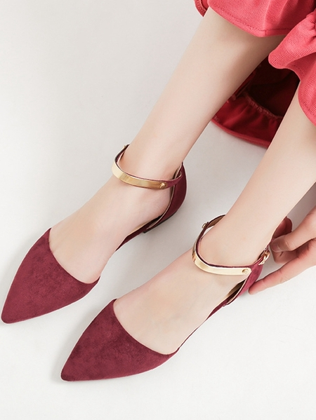 Yoins Pointed Buckle Sheer Flat Hollow Sandals