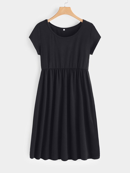 Yoins Black Plain Round Neck Short Sleeves Midi Swing Dress