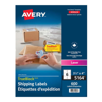 Avery@ Shipping Permanent Adhesive Laser Labels - Box of 100 sheets,4 x 3-1/3�(600) 236679