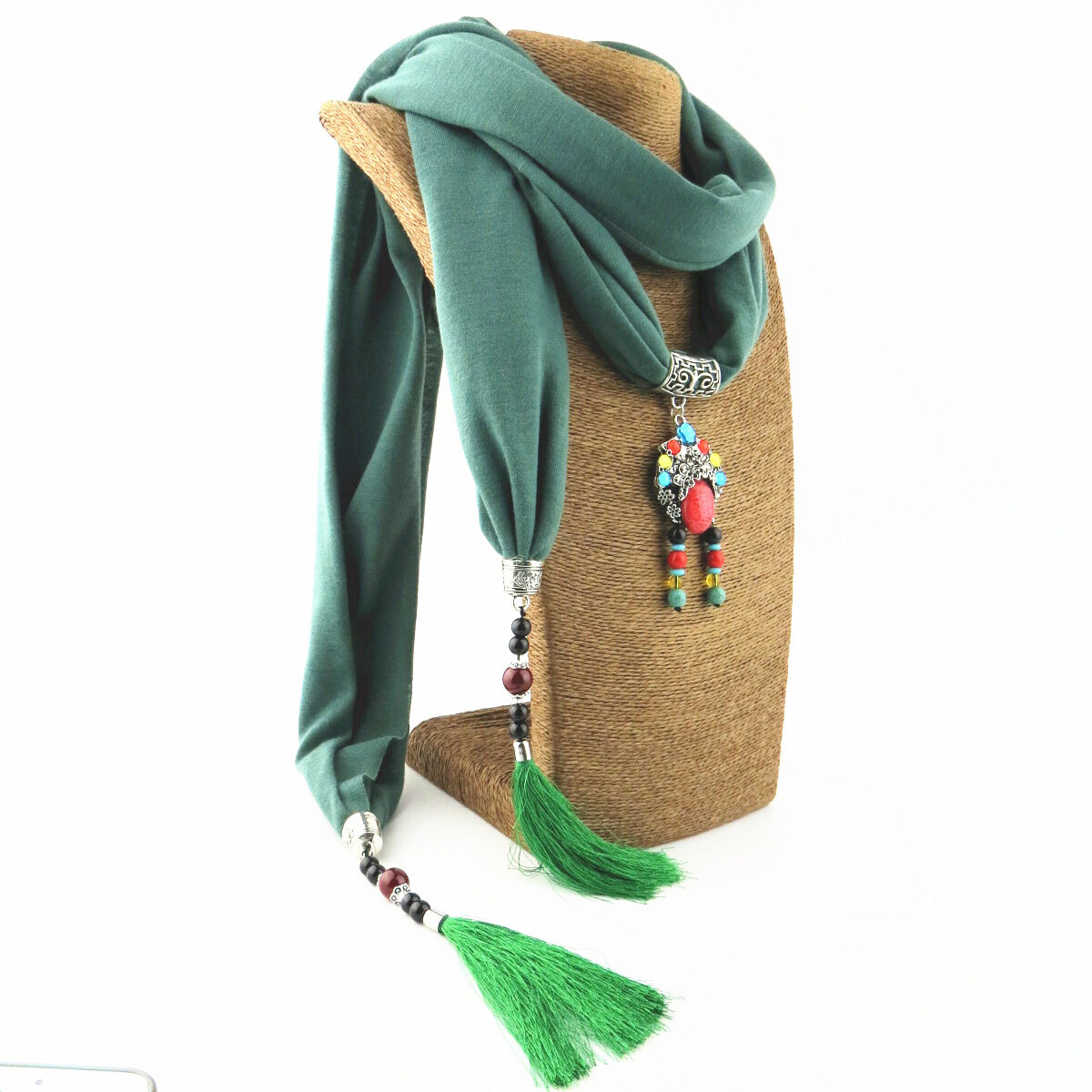 Bohemian Printed Cotton Linen Multi-layer Necklace Drop Women Pendant Scarf Shawl Jewelry Necklace