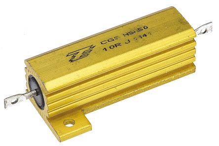 TE Connectivity HSA50 Series Aluminium Housed Solder Lug Wire Wound Panel Mount Resistor, 10Ω ±5% 50W