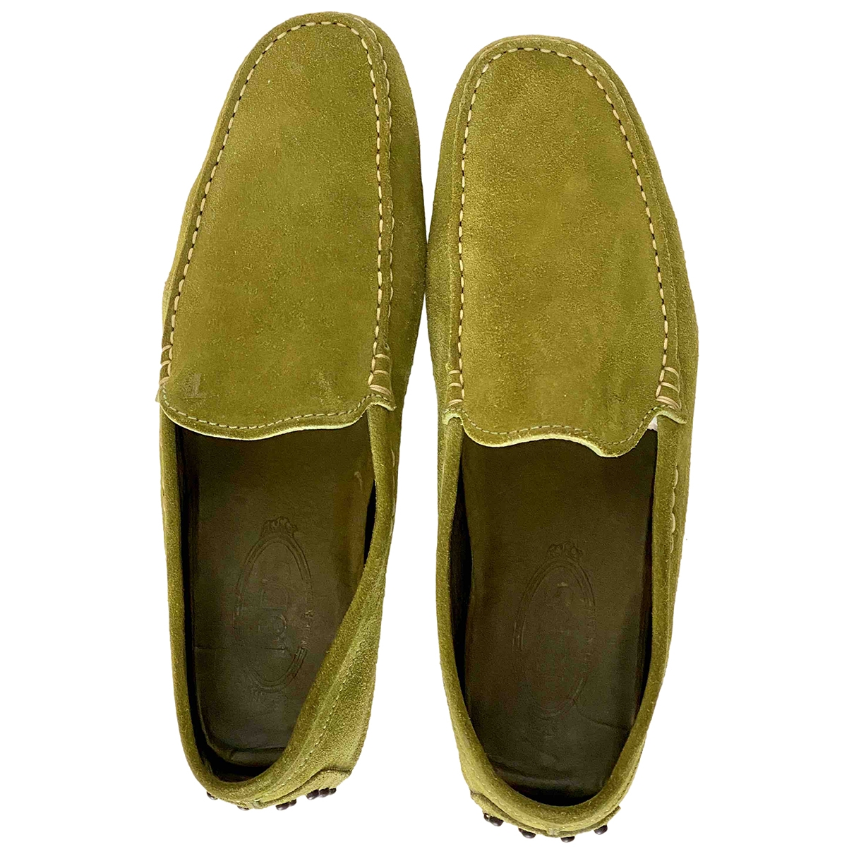 Tod's Gommino Green Suede Flats for Men 8.5 UK