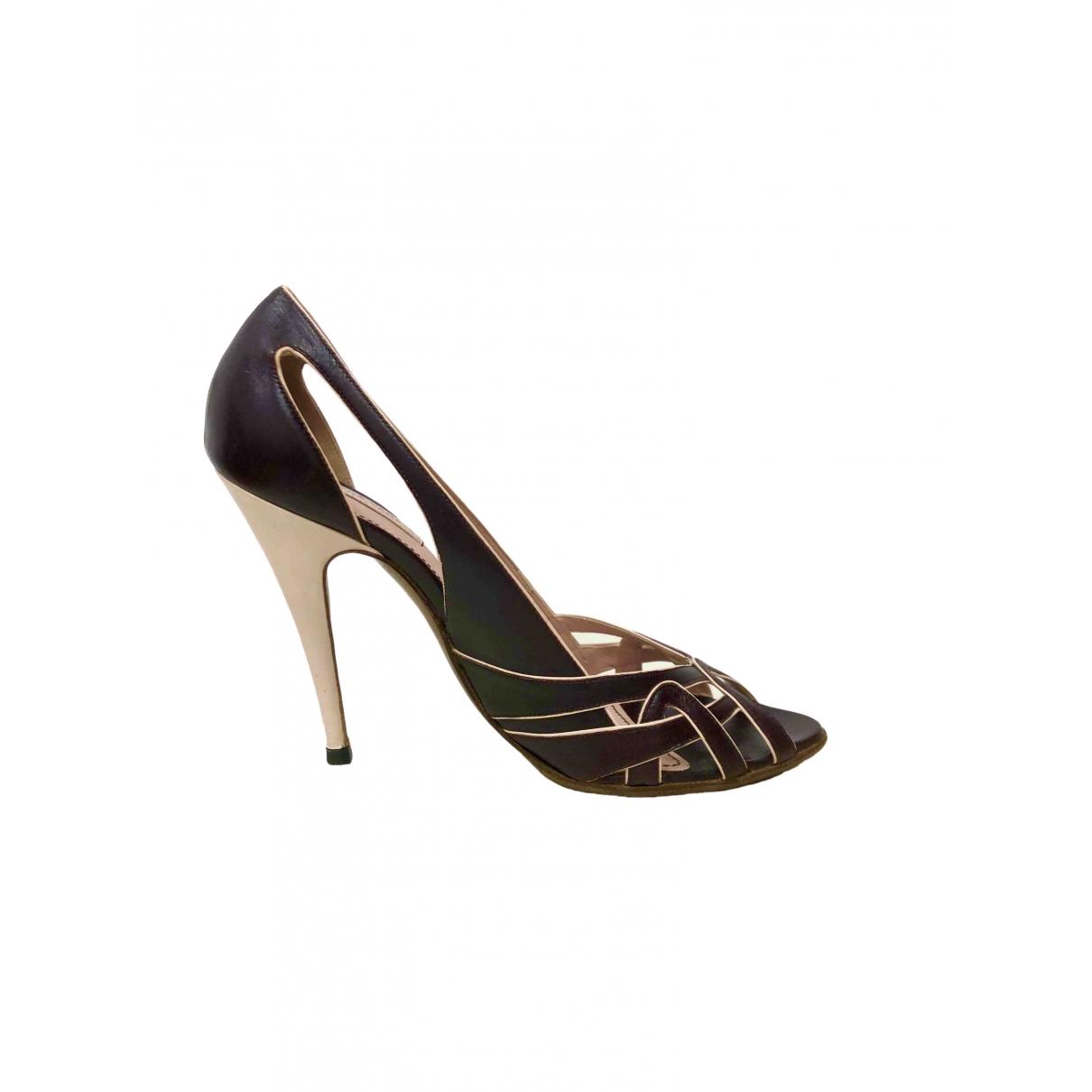 Bottega Veneta \N Burgundy Leather Heels for Women 40 EU