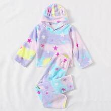 Conjunto de pijama de franela con patron de galaxia