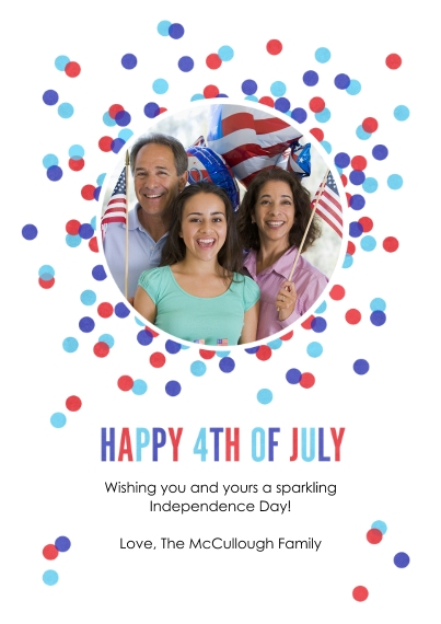 4th of July Photo Cards Flat Glossy Photo Paper Cards with Envelopes, 5x7, Card & Stationery -4th of July Dots