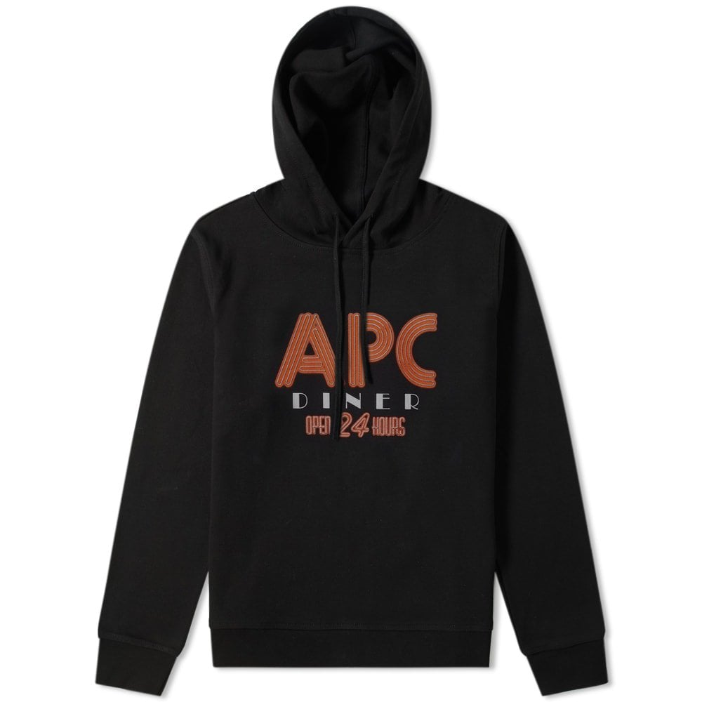 A.P.C Diner Graphic Print Hoodie Colour: BLACK, Size: SMALL