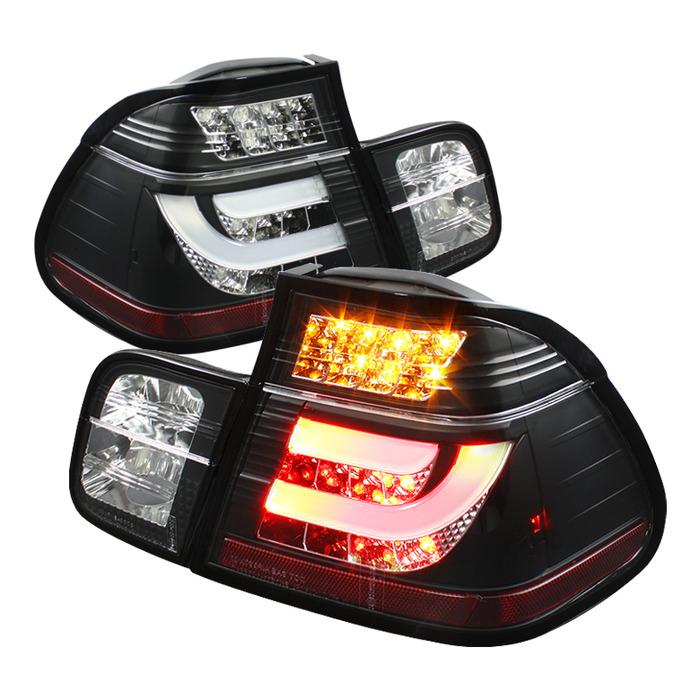 Spyder Auto ALT-YD-BE4699-4D-LBLED-BK Light Bar Style Black LED Taillights BMW E46 330Ci 4Dr 2001
