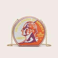 Rhinestone Detail Money Print Clutch Bag