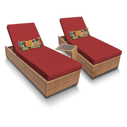 LAGUNA-2x-ST-TERRACOTTA Laguna Chaise Set of 2 Outdoor Wicker Patio Furniture With Side Table with 2 Covers: Wheat and