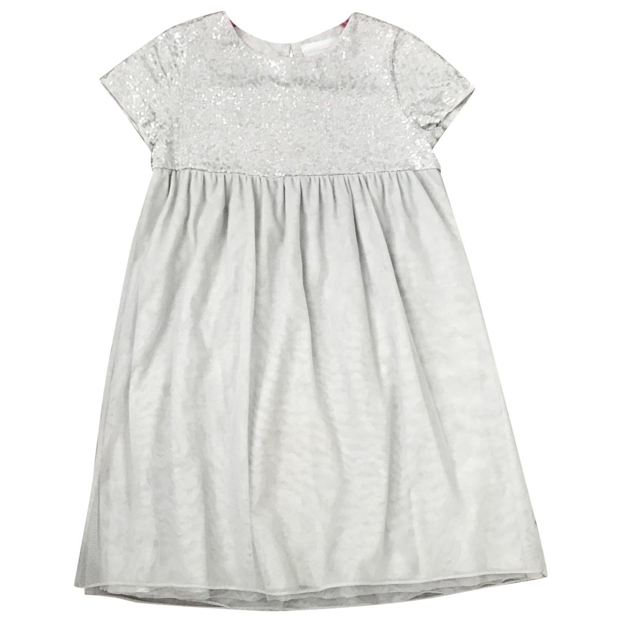 - Robe    pour enfant en coton - elasthane - gris