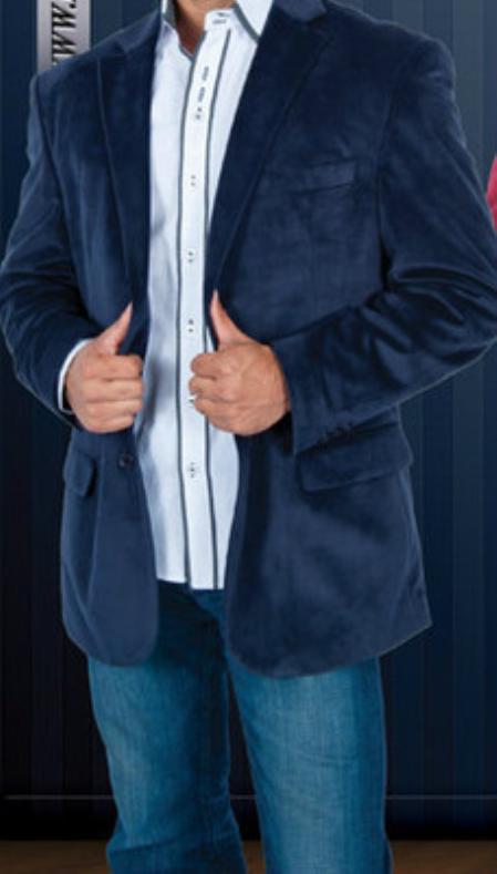 Navy Blue Velvet Blazer for Men