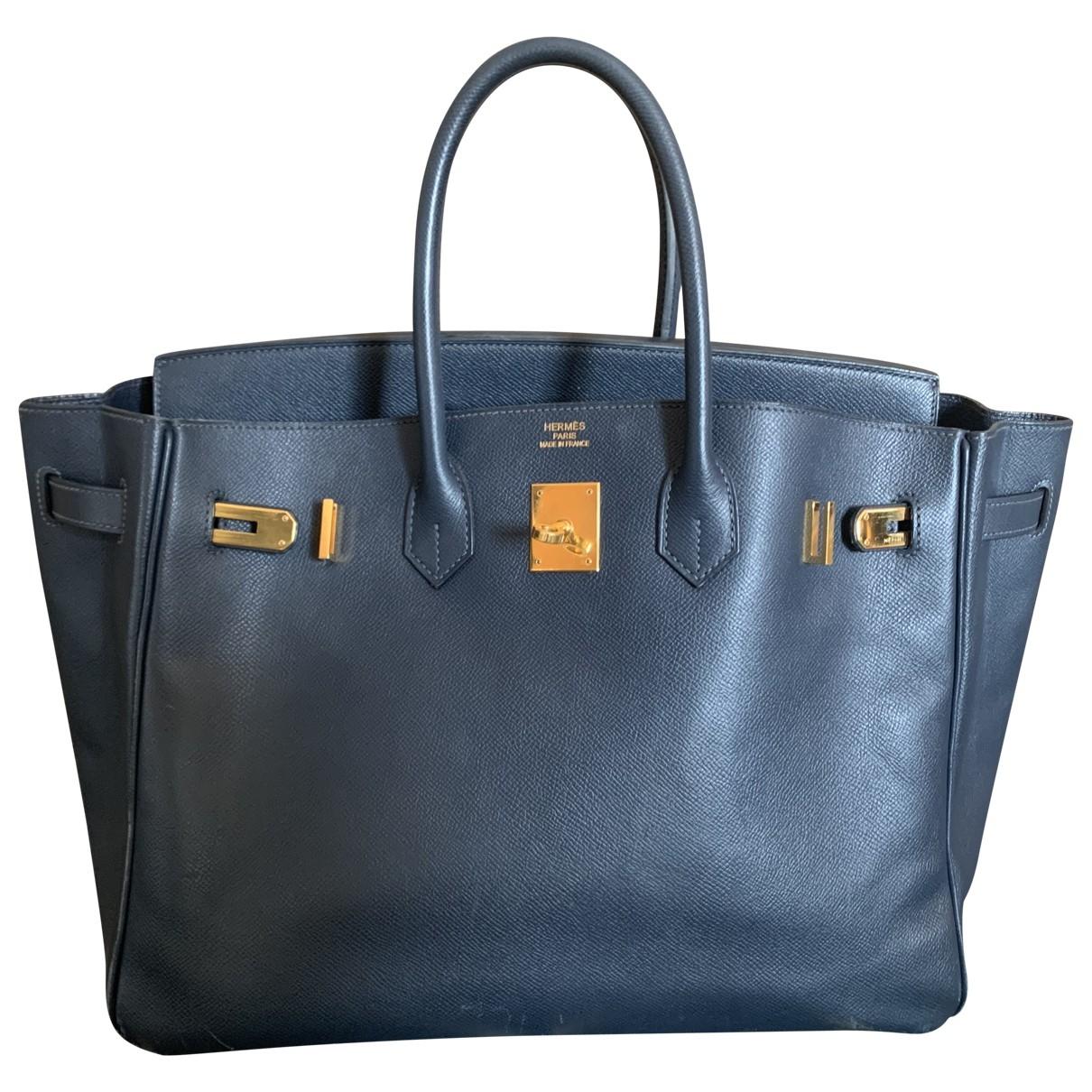 Hermès Birkin 40 Blue Leather handbag for Women \N