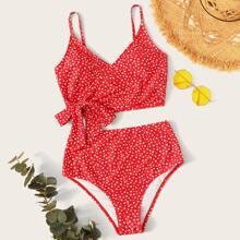 Bikini mit Bluemchen Muster, seitlichem Band und hoher Taille