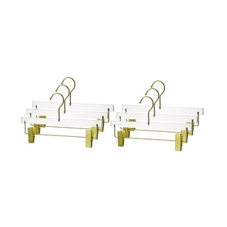 YBM Home Quality Acrylic clear Hangers, 4102 (Gold - Set of 6)