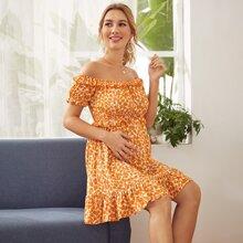 Orange Rueschen Bluemchen Bohmisch Umstandsmode Kleider
