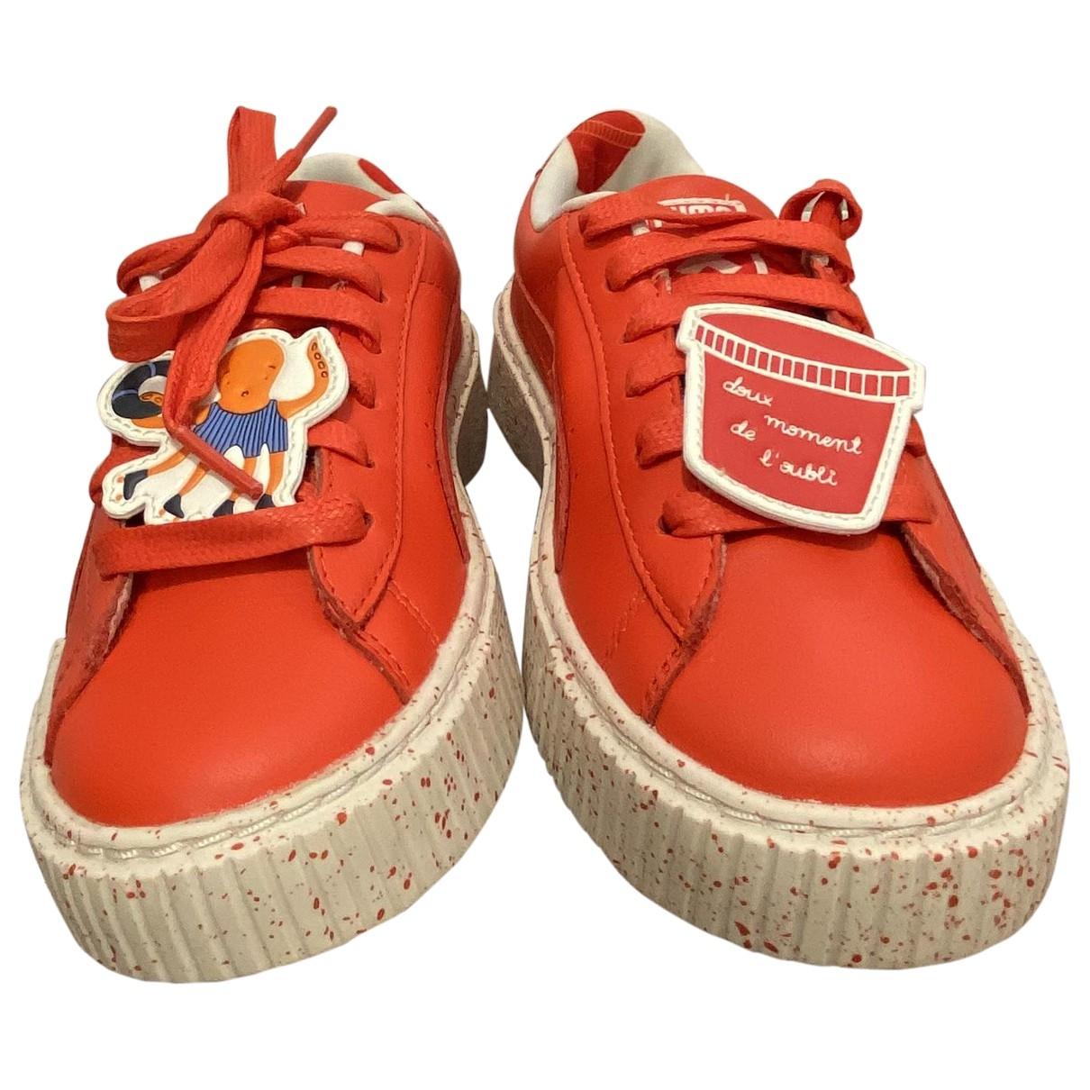 Puma - Baskets   pour enfant en cuir - orange
