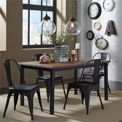 Vintage Series Collection 179-CD-O5RLS 5PC Rectangular Leg Table Set with 4x Bow Back Side Chair and 1x Rectangular Leg Table in Distressed Metal