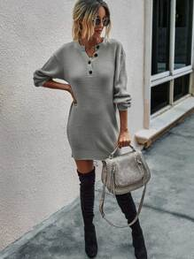Buttoned Notched Neck Drop Shoulder Sweater Dress