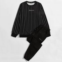 Men Letter Embroidery Striped Pullover & Sweatpants Set