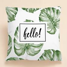1pc Leaf Print Cushion Cover Without Filler