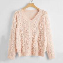 Einfarbiger Maschenstrick Pullover mit V Kragen