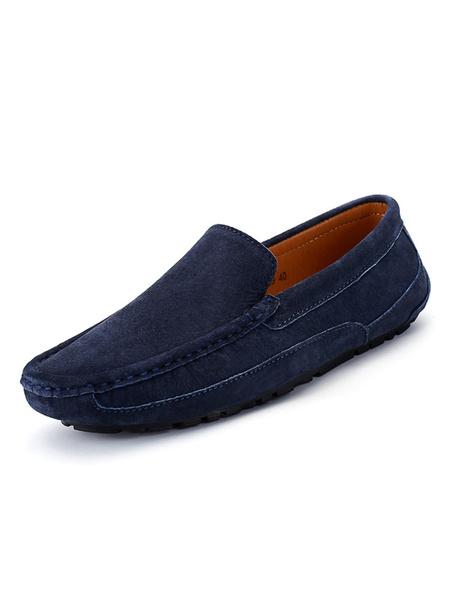 Milanoo Para hombre del holgazan de mocasin Slip-On de la Ronda del dedo del pie zapatos de conduccion