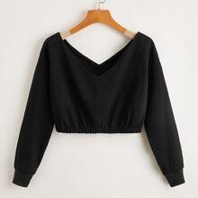 Einfarbiges Crop Sweatshirt mit V-Kragen