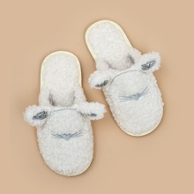 Heart Embroidered Fluffy Slippers