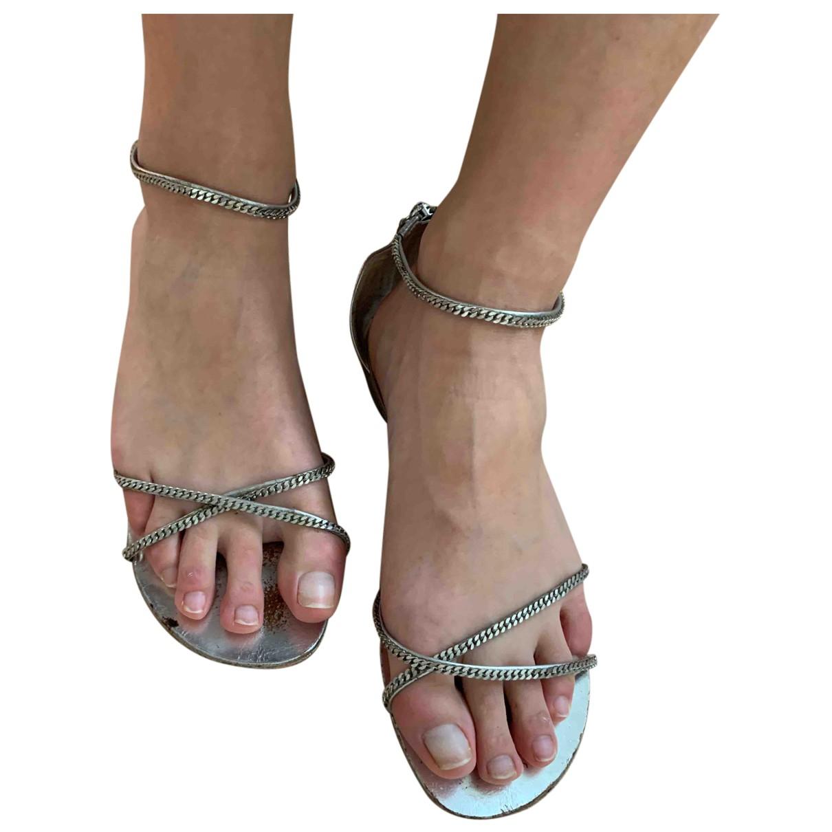 Balmain N Metallic Leather Sandals for Women 38 EU
