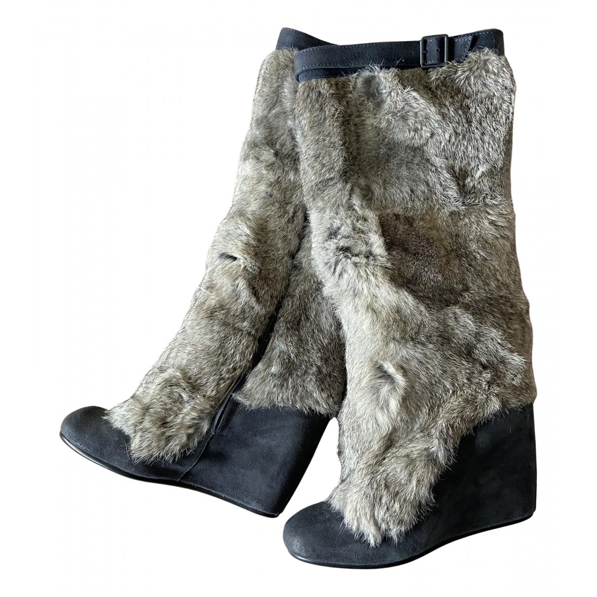 Ash \N Stiefel in  Grau Leder