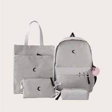 4pcs Moon Print Bag Set