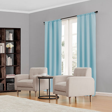 Eclipse Kendall Rod-Pocket Thermal Blackout Curtain Panel, One Size , Blue