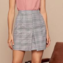 Falda con estampado de tartan con cremallera trasera