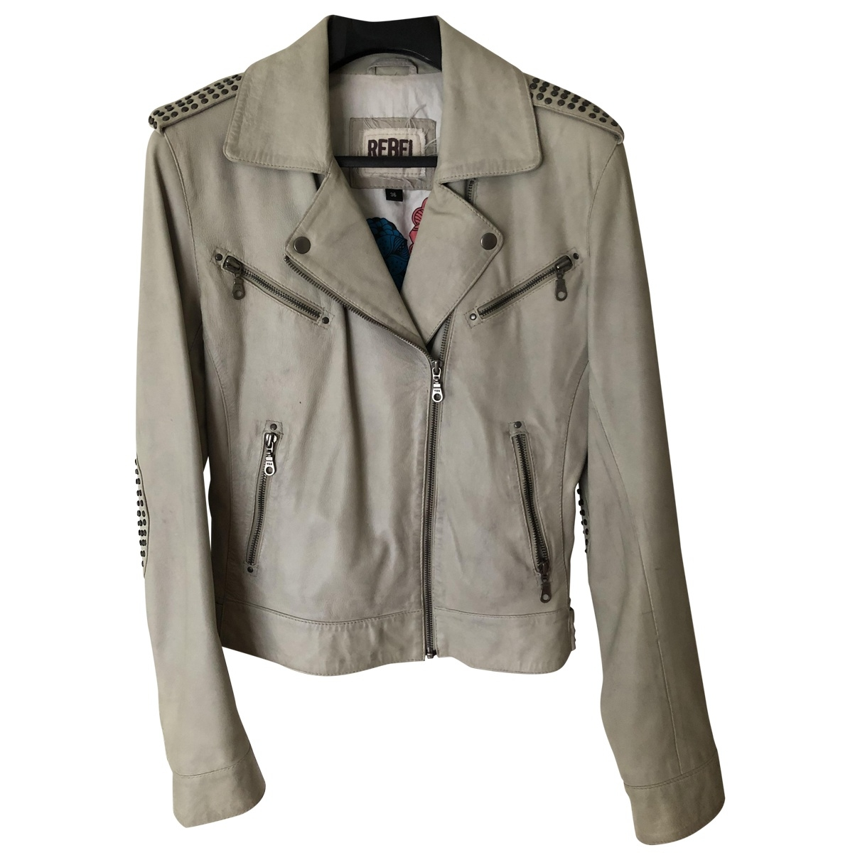 Non Signé / Unsigned \N Beige Leather Leather jacket for Women 36 FR