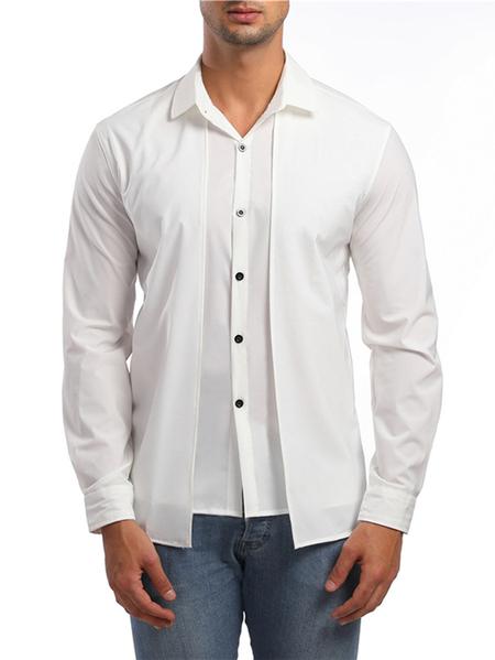 Yoins Men Casual Plain  Button Front Shirt