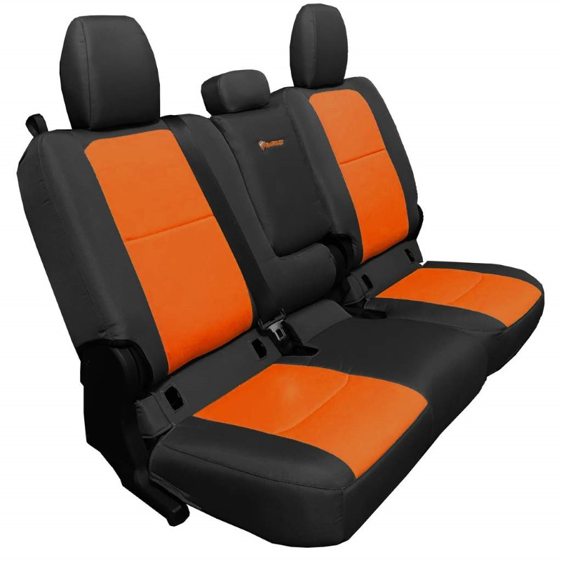 Bartact JTSC2019RFBN Rear 4 Door Seat Covers 2019 and Up Jeep Gladiator Black/Orange With Fold Arm Rest