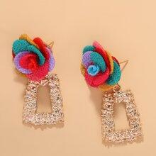 Flower Decor Textured Geo Drop Earrings