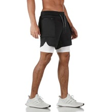 Men 2 In 1 Athletic Shorts With Phone Pocket