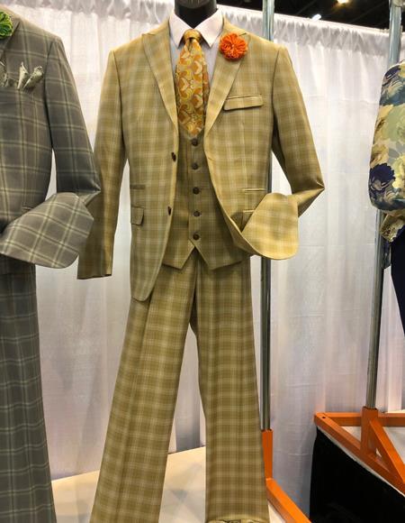Mens Vintage Plaid ~ Windowpane Vested Suit 3 Pieces Regular Fit Camel