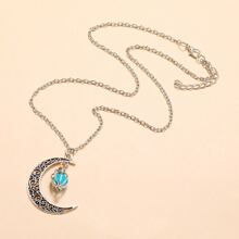 Moon & Crystal Ball Pendant Necklace